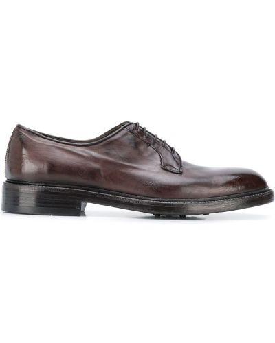 Коричневые кожаные туфли на каблуке на шнурках Green George
