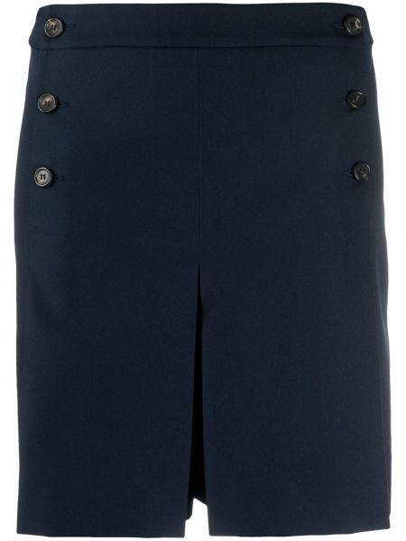 Однобортные темно-синие короткие шорты со складками Mulberry