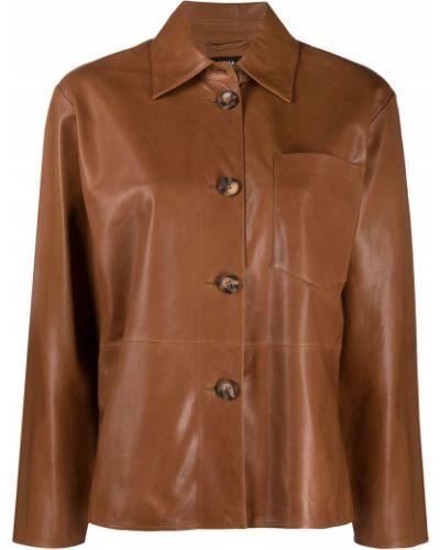 Коричневая кожаная куртка с воротником Arma