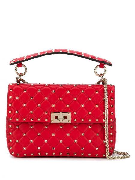 Красная кожаная сумка на плечо на молнии Valentino