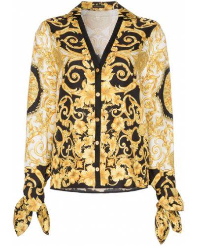 Блузка с V-образным вырезом черная Versace