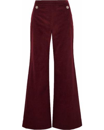 Красные бархатные брюки с карманами Temperley London