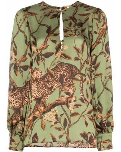 Блузка с длинным рукавом в полоску с леопардовым принтом Johanna Ortiz