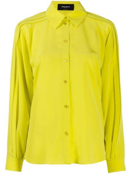Желтый топ на пуговицах с воротником с манжетами Rochas