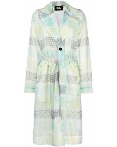 Zielony długi płaszcz w kratę oversize Karl Lagerfeld