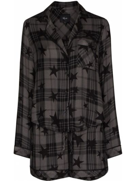 Czarna piżama z długimi rękawami z printem Rails