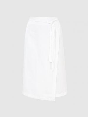Льняная белая юбка миди с запахом Peserico