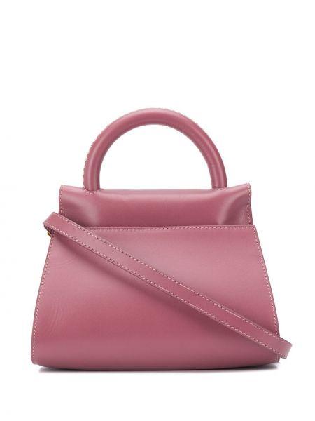 Z paskiem różowy torba na ramię z prawdziwej skóry z ozdobnym wykończeniem Elleme