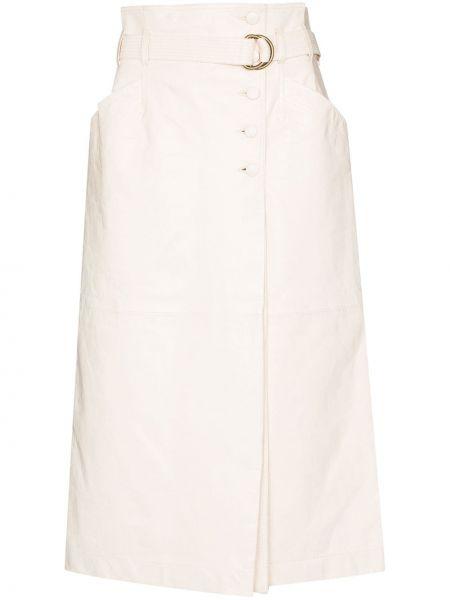 Кожаная юбка миди - белая Ulla Johnson