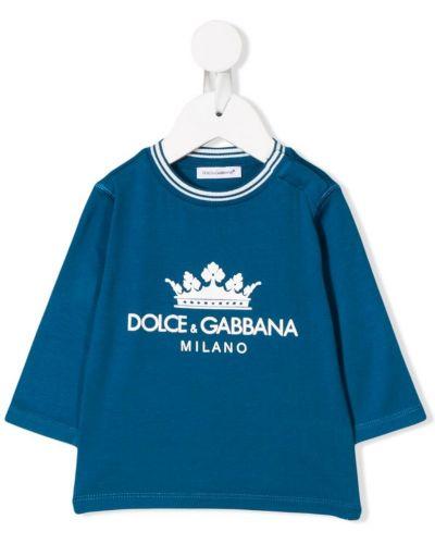 Толстовка с принтом синяя Dolce & Gabbana Kids