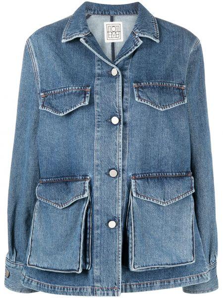 Ватная синяя джинсовая куртка с воротником Toteme