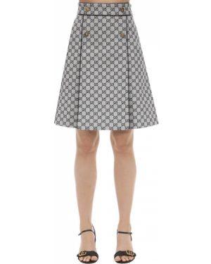 Кожаная юбка с завышенной талией на пуговицах Gucci