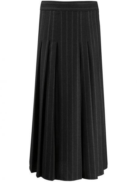 Шерстяная черная юбка миди с поясом в рубчик Brunello Cucinelli