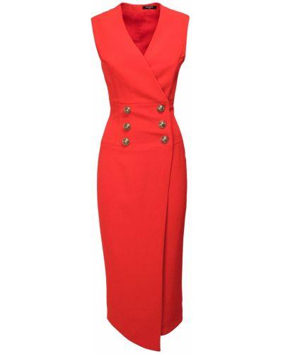 Приталенное платье миди без рукавов с декольте Balmain