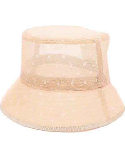 Beżowy kapelusz bawełniany z printem Red Valentino