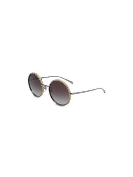 Плетеные серые солнцезащитные очки круглые металлические Chanel