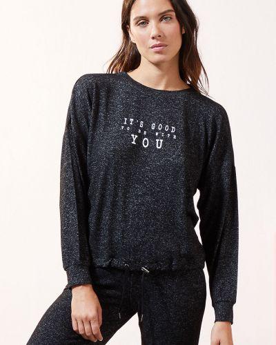 Czarna piżama z długimi rękawami z wiskozy Etam