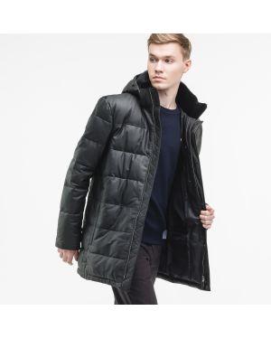 Кожаная куртка с капюшоном черная Lacoste