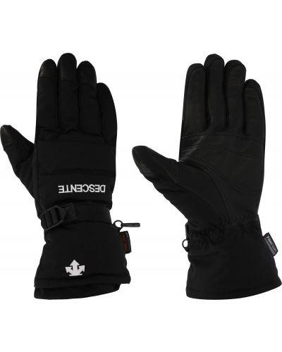 Кожаные черные перчатки со вставками Descente