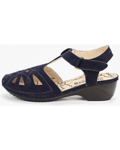 Босоножки на каблуке из нубука синий Shoiberg