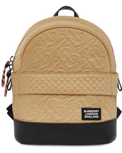 Коричневый стеганый кожаный рюкзак Burberry Kids