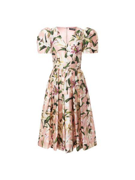 Платье мини розовое с цветочным принтом Dolce & Gabbana
