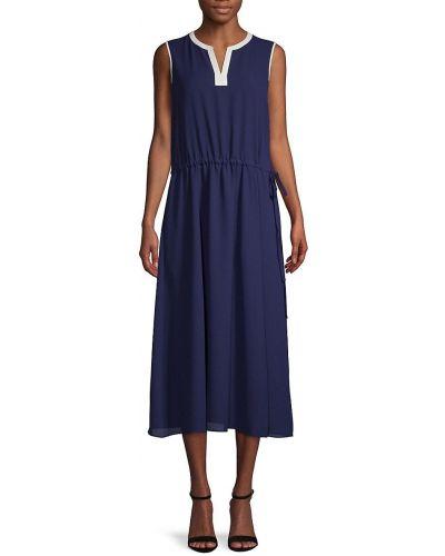 Повседневное платье миди - синее Anne Klein