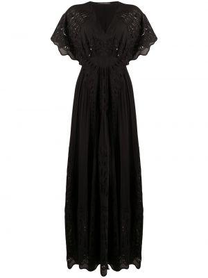 Czarna sukienka mini krótki rękaw z jedwabiu Alberta Ferretti