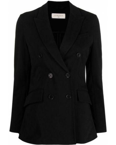 Черный удлиненный пиджак двубортный с карманами Circolo 1901