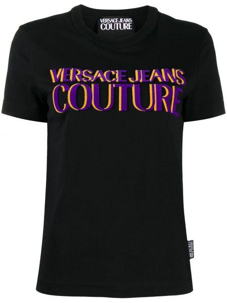 Ватная хлопковая черная джинсовая рубашка с короткими рукавами Versace Jeans Couture