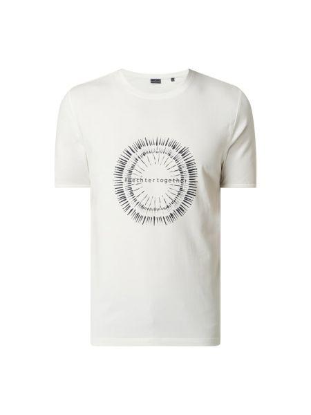 Biały t-shirt bawełniany z printem Daniel Hechter
