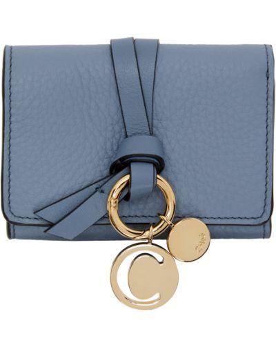 Skórzany czarny portfel skórzany wytłoczony prążkowany Chloe