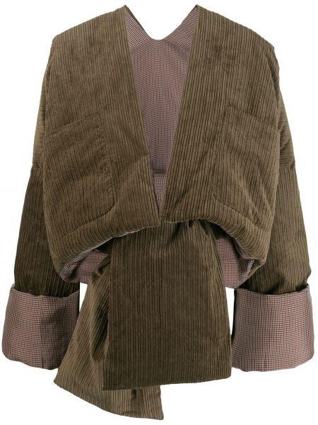 Зеленая куртка с манжетами с карманами вельветовая Asai