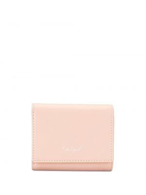 Кожаный розовый кошелек с карманами на кнопках Discord Yohji Yamamoto