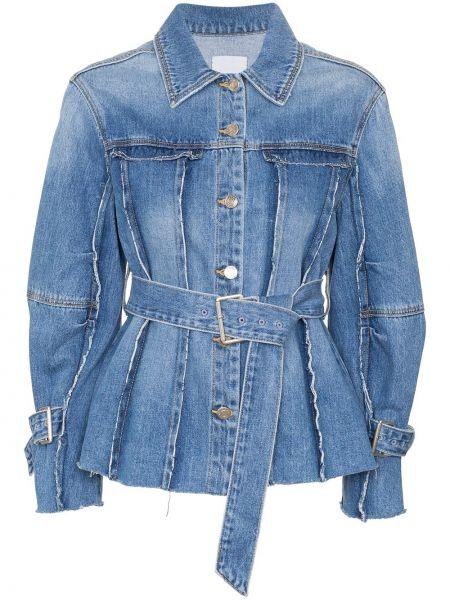 Синяя джинсовая куртка с поясом с манжетами Sjyp
