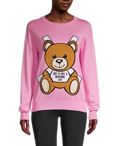 Розовый хлопковый свитшот с длинными рукавами Moschino Couture