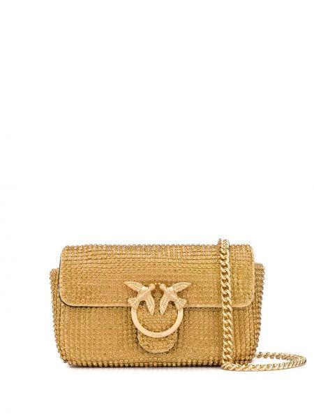 Желтая с ремешком кожаная сумка на цепочке Pinko