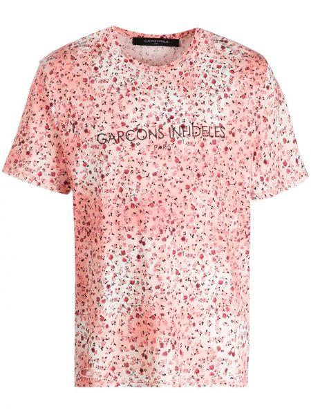 Różowy t-shirt bawełniany krótki rękaw Garçons Infideles