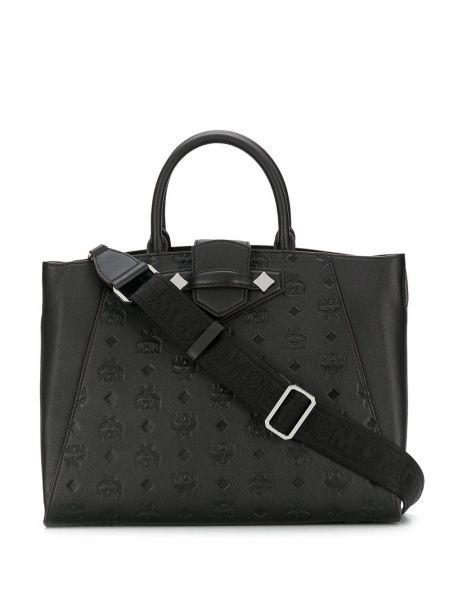 Skórzana torebka na ramię czarna Mcm