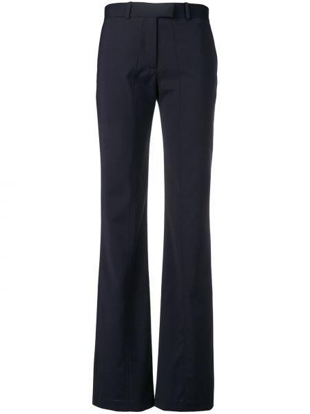 Niebieskie spodnie wełniane z paskiem Aalto