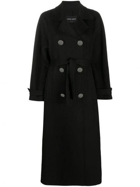 Кашемировое черное длинное пальто с лацканами с карманами Giorgio Armani