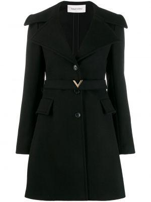 Черное кашемировое длинное пальто с капюшоном Valentino