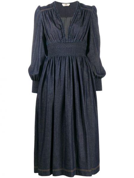 Синее платье миди с поясом с вырезом Fendi