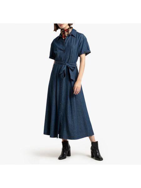 Платье мини на пуговицах с поясом La Redoute