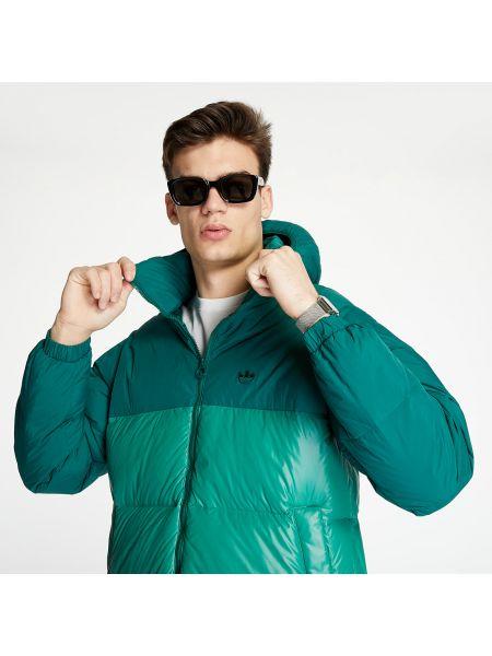 Брендовая пуховая зеленая дутая куртка Adidas Originals