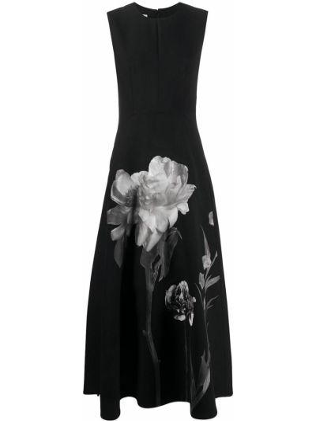 Czarna sukienka z wiskozy w kwiaty Valentino