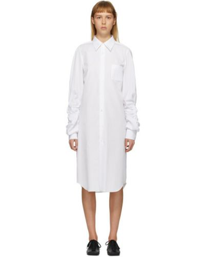 Шерстяное белое платье макси с длинными рукавами с воротником Comme Des Garçons