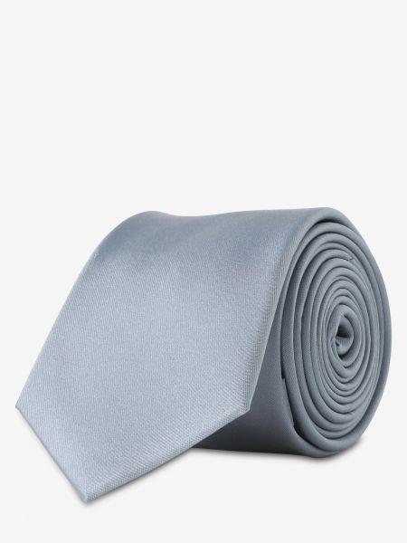 Niebieski krawat elegancki z jedwabiu Finshley & Harding