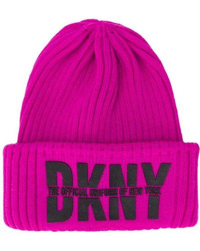 Акриловая розовая шапка с отворотом Dkny Kids