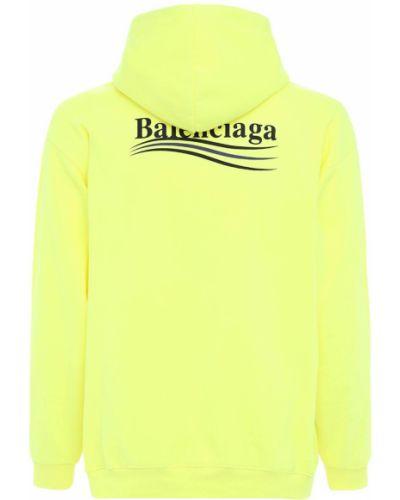 Żółta bluza z kapturem bawełniana Balenciaga